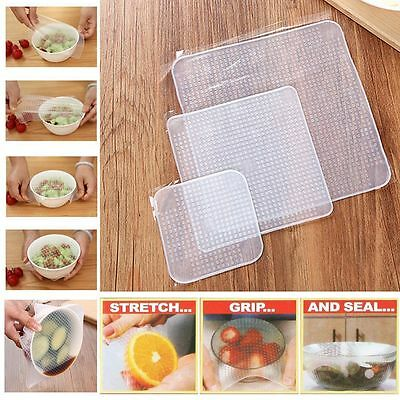 3x Wraps Silicone Seal Cover Stretch Cling Film Food Fresh Keep Reusable Kitchen