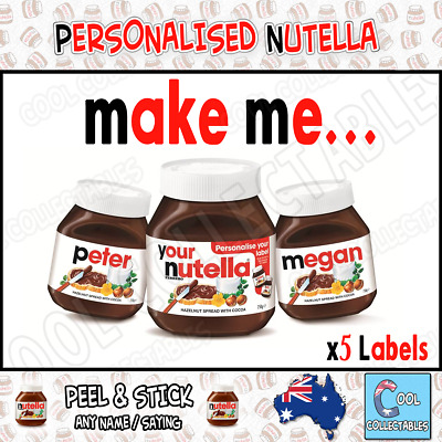 Nutella - Personalised Jar - Name your Nutella - 750g ( 5 Labels )