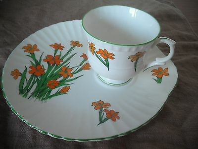 "Crown Staffordshire ""Devon"" Fine Bone China Tea Cup & Plate/Saucer combined"