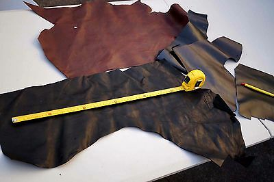 Brown/Black Cowhide Scrap large leather Pieces/off-cuts 0.5 KG Craft Supplies