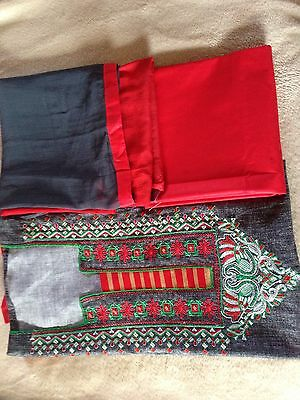Red and Blue neck embroidered cotton salwar kameez with dupatta