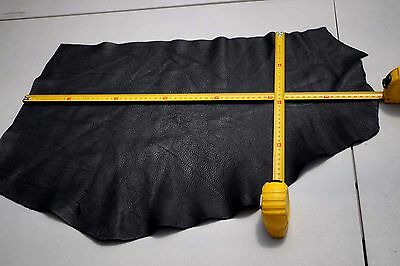 Black Cowhide Elmo Upholstery Leather Pieces 40 x 25cm and 42 x 26cm Semi-Anilin