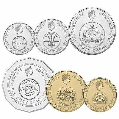 Uncirculated $1 & $2 ,50c,20c,10c,5c Australia 2016 50th  Anniversary COINS
