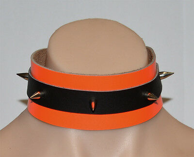 Black / Orange limited edt Hand Crafted Leather Collar Top quality col5blkorg