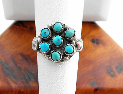 Vtg Sterling Silver Tourist Navajo 7-Stone Turquoise Ring sz 5.5