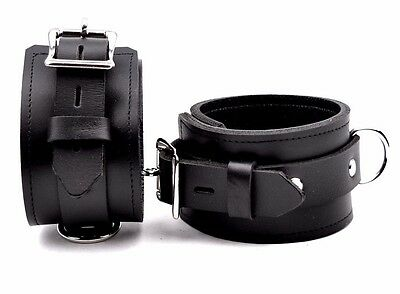 ANKLE CUFFS DELUXE Handcrafted Leather  Black Locking TOP QUALITY CF1A-D-blkblk