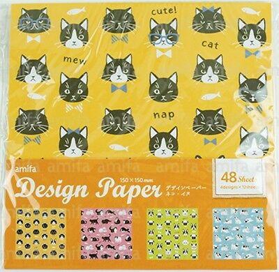 Origami Paper Pack Cats & French Bulldogs 150x150mm 48s Cute Animal