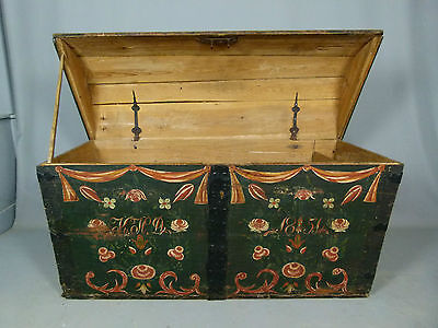 Swedish Pine Marriage Chest/Trunk Original Paint Dated 1851