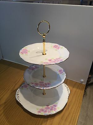 Vintage Art Deco Paladin/Fenton Hand Painted 3 tier Cake Stand