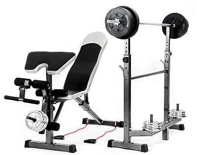 Multi Station Gym Bench Press Weight Rack Fitness Home Exercise Squat Curl Flat