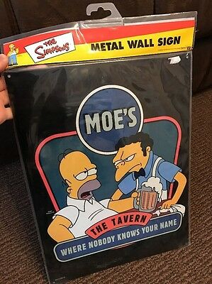 "The Simpsons - Large Metal Sign 16"" x 12"" Homer / Moe's Tavern"
