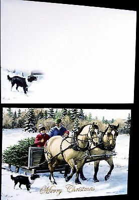Christmas Card - Beautiful Work Horses with Family & Christmas Tree