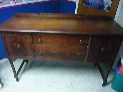 Solid Oak Vintage Antique 1920's Sideboard / Credenza / Buffet