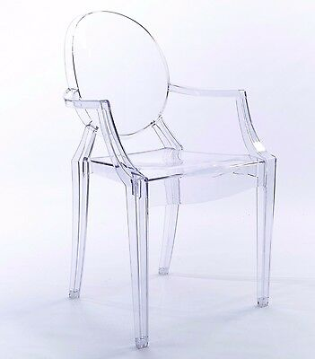 niches Clear Ghost Dining Arm chair transparent Modern Style Chic Starck Louis X