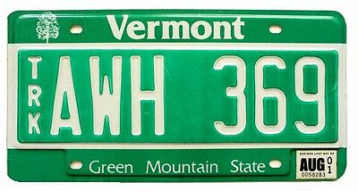 """Vermont 2001 """"Green Mountain State"""" Debossed Truck License Plate AWH 369"""