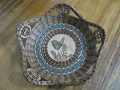 Wood Burnt Image of a Butterfly Pine Needle Basket