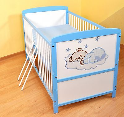 NEW WHITE-BLUE 2in1 COT-BED 140x70 no 14 - MATTRESS FOR FREE