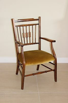 Lovely old feature small wooden armchair, upholstered seat, collect IP14 Suffolk