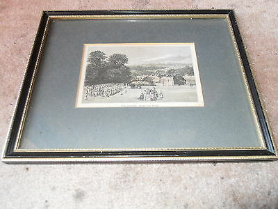 """Genuine Victorian Hand Coloured Print Etching Of """" The College From The Field """""""