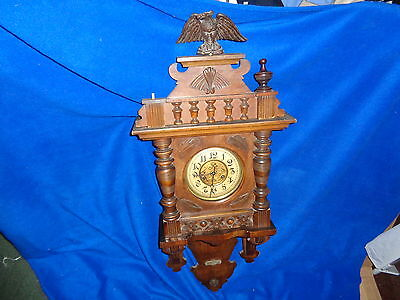 "Rare Antique German DRCM Vienna Striking Wall clock - Eagle on top - 40"" Long"