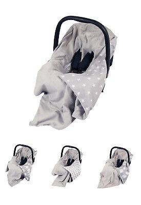 **NEW GREY DOUBLE-SIDED CAR SEAT BABY BLANKET / COVER / COSYTOES / 100x100cm**