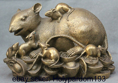 Lucky Chinese Zodiac Year Fengshui Brass Wealth Family Mouse Mice Money Statue