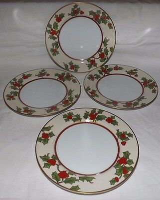 "(Set of 4) Fitz and Floyd CHRISTMAS HOLLY 7 1/2"" SALAD or Dessert PLATES (1982)"