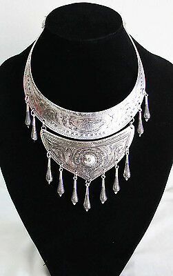 Handmade silver plated Thai Karen Hill Tribe Necklace : Hmong long
