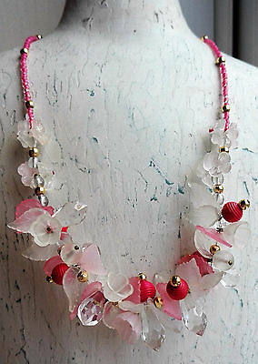 Vintage Molded Lucite Pink & Clear Flowers Leaves Cluster Necklace & Earring Set