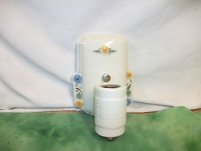 Vintage  Porcelin  Wall Sconce  with  Flowers Decorating ( Plug in not Connected