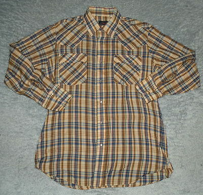 vtg mens 80s LEVIS Brown & Blue Plaid Western Pearl Snap Button Shirt sz L Slim