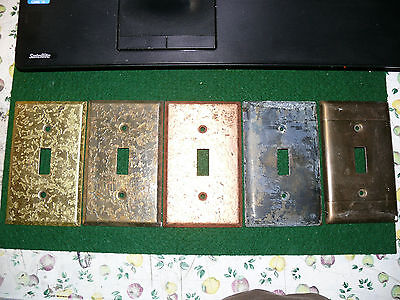 LOT F 5 Vintage Metal Single Toggle Light Switch Cover