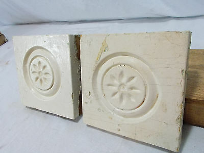 Carved Wood Rosettes Block Trim Architectural Antique Large Quantity Available