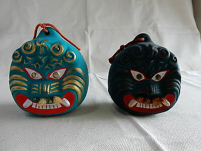 Japanese Vintage Ceramic Bell Dorei Clay Hand Made 2 pieces Refreshing Sound