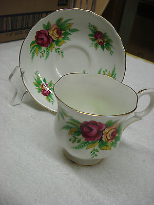 Crown Staffordshire TEA CUP & SAUCER Red & Yellow Roses Made In England TR5