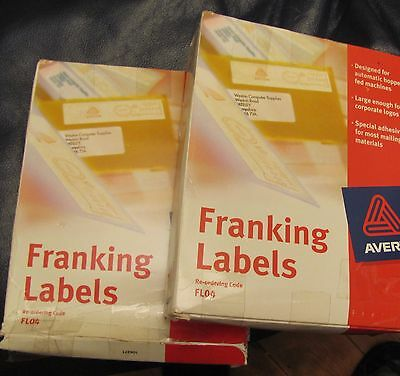 2000 Avery franking labels [ 2 x Box of 1000]  WHITE FL04 140 x 38 mm