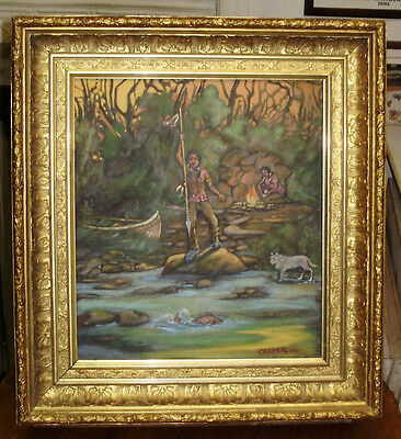 CARTER 1910  --  Native American Indian Old Oil Painting on Canvas Ornate Frame