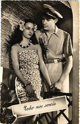 Hawaiian Polynesian  Woman And Sailor Man 1954 Real Photo Postcard