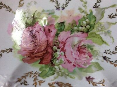 Vintage porcelain handpainted scalloped oval bowl with roses, gold