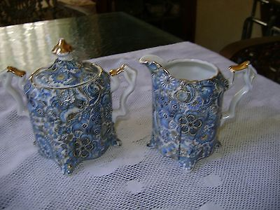 Vintage Royal Paisley #1709 Footed Porcelain Sugar and Creamer Blues Gold Trim