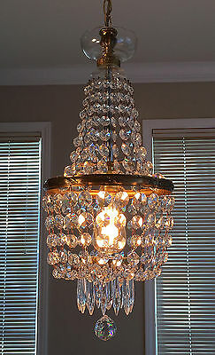 Antique European Crystal SoHo Apt. Chandelier Lamp Light Fixture