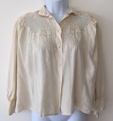 Women's Vintage Cream Silk Embroidered Blouse Top Size 12/14