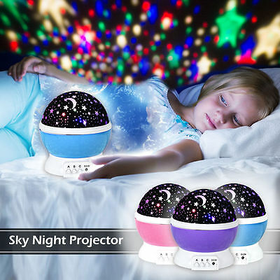 Rotating Projector Starry Night Lamp Star Sky LED Night Lights Kids Xmas Gift UK
