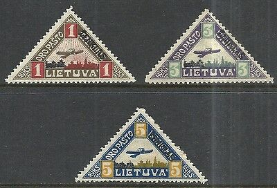 Lithuania  Scott C15 - C17 Mh Set- 1922 Airmail Issue - Cat $9.75