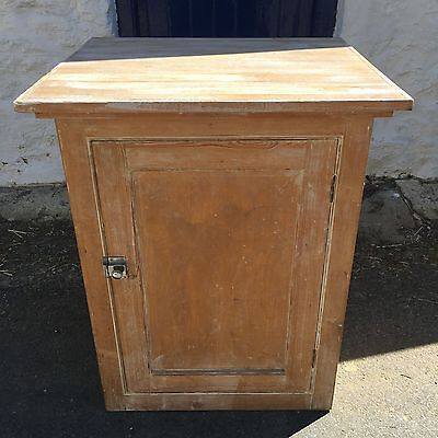 An Antique Stripped Victorian Pine Floor Standing Cupboard With Shelves