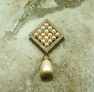Joan Rivers Vintage Faux Pearl & Crystal Pin/Pendant with Twisted Rope Chain
