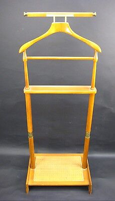 Vintage Mid Century Wood & Wicker Clothing Stand Butler Valet