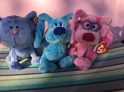 TY Beanie Baby Babies BLUES CLUES Set Lot of 3 Blue Magenta Periwinkle NEW Tags