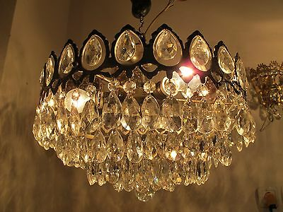 Antique Vnt French HUGE Basket Style Crystal Chandelier Lamp 1940s 15in dmter--