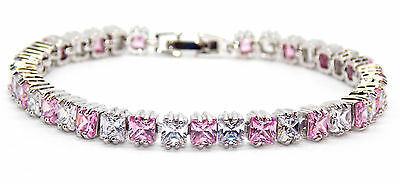 Silver Pink Sapphire And White Topaz 13.8ct Tennis Bracelet